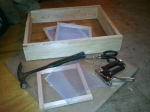 """Newly-constructed towel box (16 1/4""""x20"""") and small screens (8""""x8"""")"""
